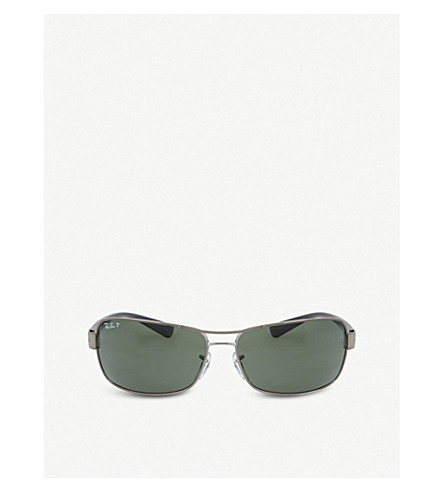 RAY-BAN Gunmetal rectangle sunglasses RB3379 64 (Gunmetal
