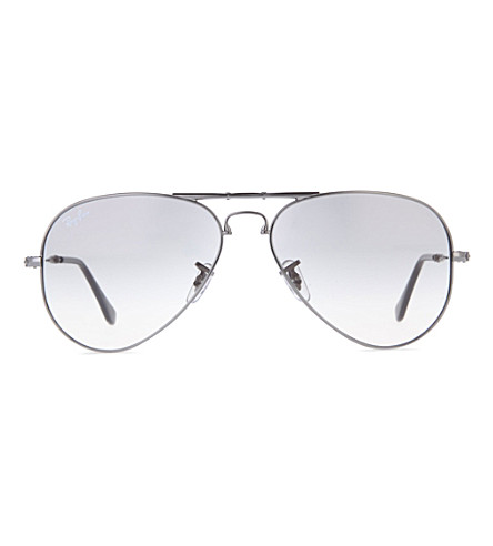 RAY-BAN Folding gunmetal aviator sunglasses with tinted polarised lenses  RB3479 58 (Gunmetal