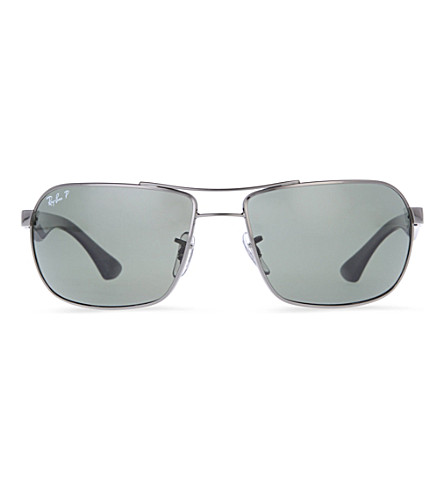 RAY-BAN Highstreet metal-rimmed sunglasses (Gunmetal