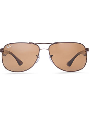 RAY-BAN Polarised rectangular sunglasses with tortoiseshell arms and brown lenses RB3502