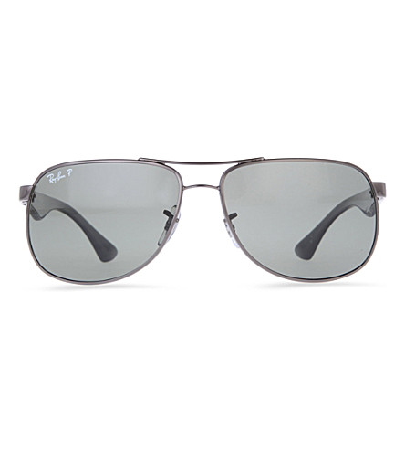 74dbf804fc RAY-BAN Rectangular sunglasses with black arms and polarised grey lenses  RB3503 (Gunmetal