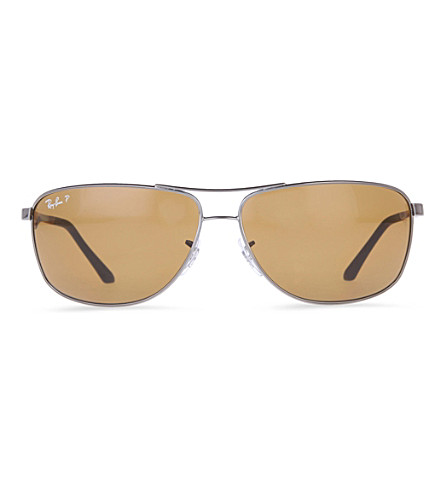 RAY-BAN Gunmetal rectangular sunglasses with polarised brown lenses RB3506 64 (Gunmetal