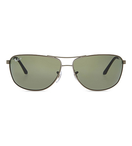 RAY-BAN RB3506 rectangle-frame sunglasses (Matte+gunmetal