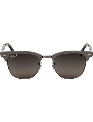 RAY-BAN Clubmaster aluminium sunglasses in brushed gunmetal with black polarised lenses RB3507 49