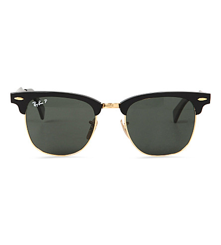 RAY-BAN Folding clubmaster aluminium sunglasses with green lenses RB3507 51 (Black/arista