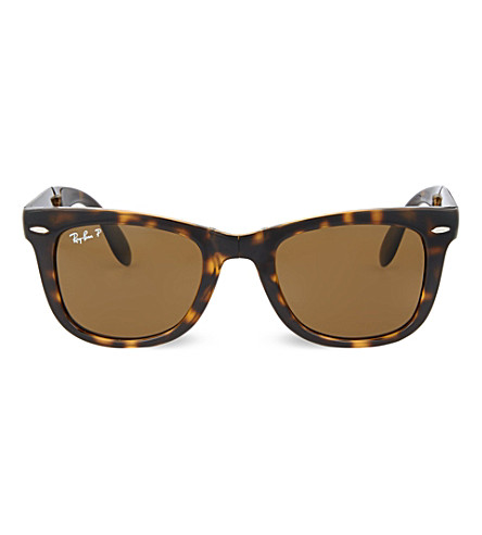 RAY-BAN Light Havana folding tortoiseshell wayfarer sunglasses with brown polarised lenses RB4105 50 (Light+havana