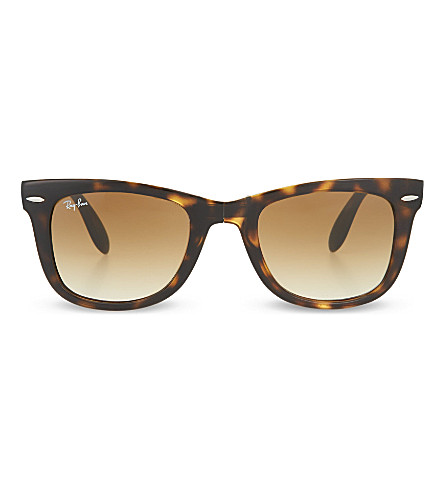 RAY-BAN Light Havana folding tortoiseshell wayfarer sunglasses with brown polarised lenses RB4105 51 (Light+havana
