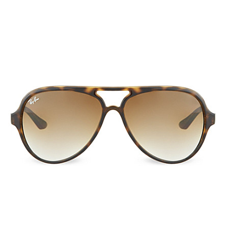 RAY-BAN Cats 5000 sunglasses in light havana with brown gradient lenses RB4125 59 (Light+havana