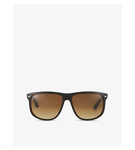RAY-BAN Black on brown square sunglasses with brown tinted lenses RB4147 60 (Top+black+on+brown