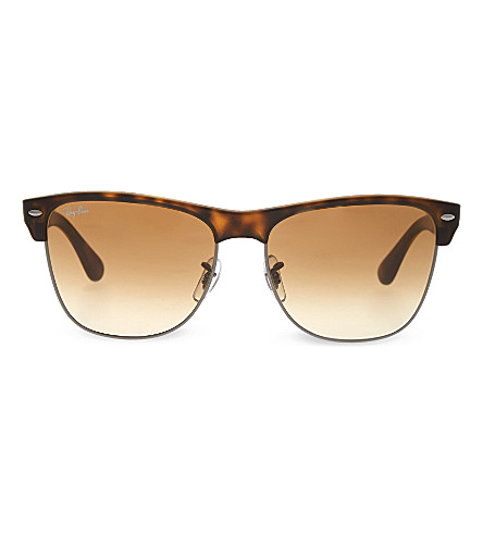 RAY-BAN Matte square havana sunglasses with brown tinted lenses RB4175 57 (Shiny/gunmetal