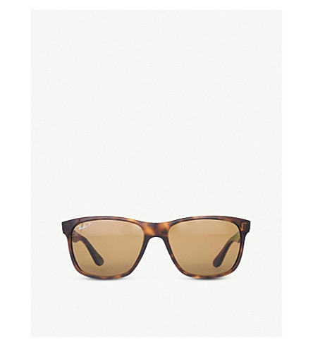 RAY-BAN Light Havana square-frame sunglasses with brown gradient lenses RB4181 57 (Light+havana