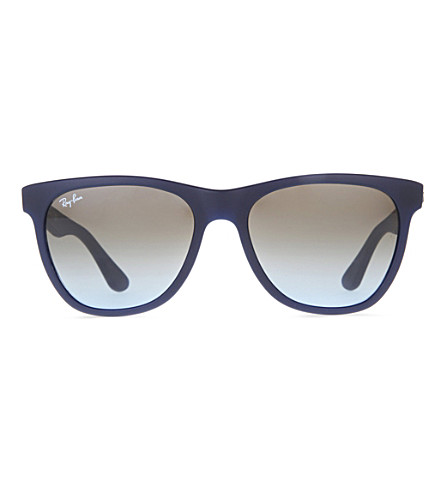 RAY-BAN Matte blue rectangular sunglasses with grey polarised lenses RB4184 54 (Matte+blue