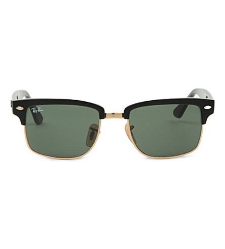 RAY-BAN Clubmaster square sunglasses in black with green lenses RB4190 52 (Black/arista