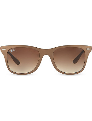 RAY-BAN Matte brown wayfarer sunglasses with brown tinted lenses RB4195 52