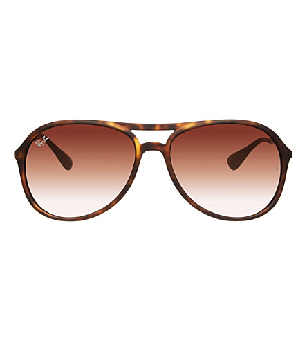 RAY-BAN Rubber havana aviator style sunglasses with maroon lenses RB4201 59 (Rubber havana