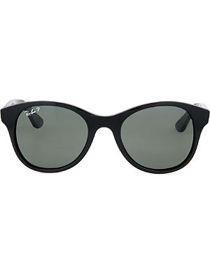 RAY-BAN Round sunglasses in black with polarised black lenses RB4203 51
