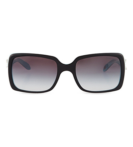 TIFFANY & CO Two-tone embellished sunglasses (Top+black+on+azure