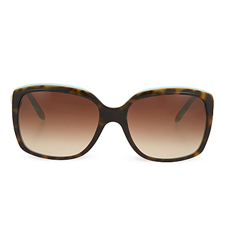 TIFFANY & CO Tortoise shell square sunglasses (Top+havana/blue