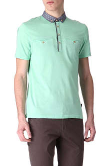 TED BAKER Rapravn textured contrast-collar polo shirt