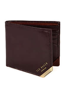 TED BAKER Korning bi-fold metal corner leather wallet