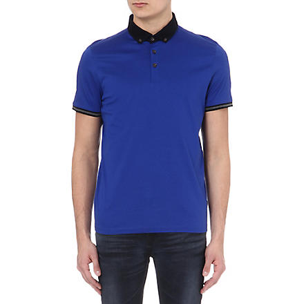 TED BAKER Jefrton contrast-collar polo shirt (Bright+blue