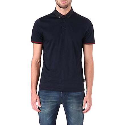 TED BAKER Jefrton contrast-collar polo shirt (Navy
