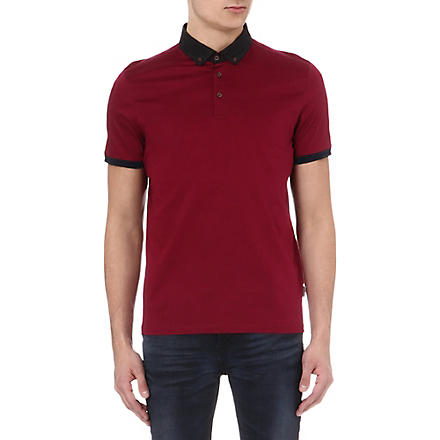 TED BAKER Jefrton contrast-collar polo shirt (Pink