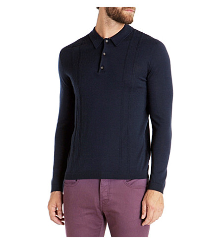 TED BAKER Tonscot merino wool polo shirt (Navy