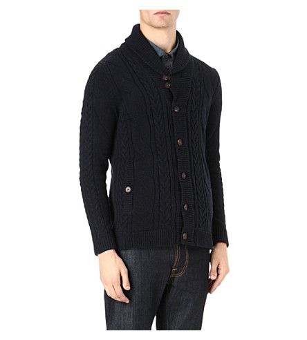 TED BAKER Cable-knit cardigan (Navy
