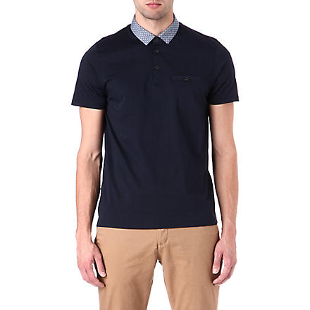 TED BAKER Printed collar polo shirt (Navy