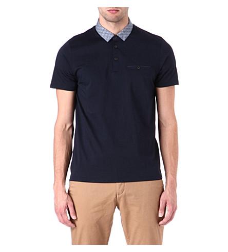 TED BAKER Printed collar polo shirt (Navy