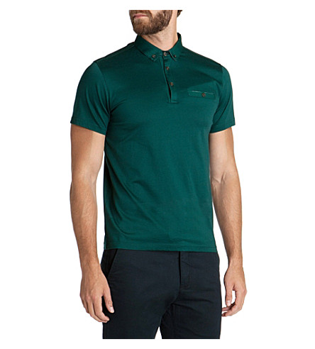 TED BAKER Grainny grosgrain collar polo shirt (Green