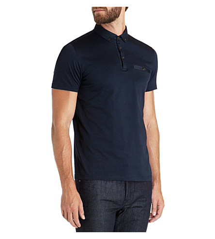 TED BAKER Grainny grosgrain collar polo shirt (Navy