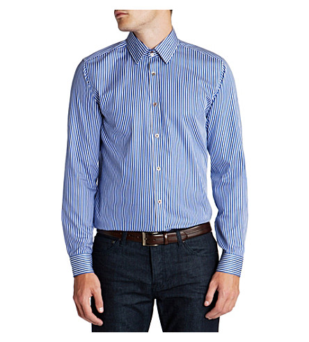 TED BAKER Bengal stripe single-cuff shirt (Blue