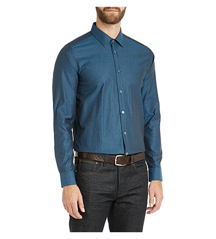 TED BAKER Gudforu spotty tonal shirt (Blue