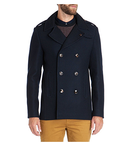 TED BAKER Double breasted wool coat (Navy