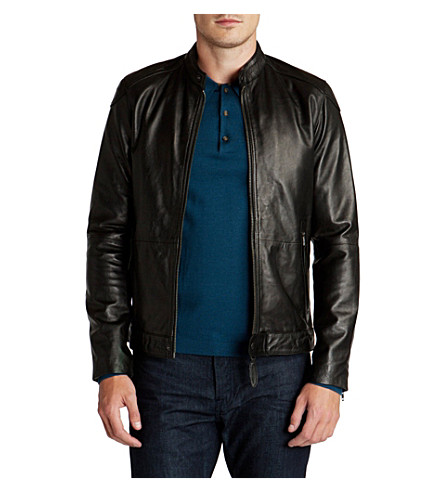TED BAKER Wildone leather biker jacket (Black