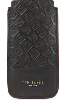 TED BAKER Rush Hour embossed-leather phone case