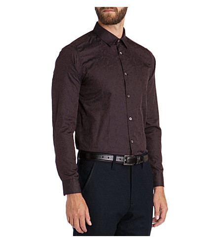 TED BAKER Canmas floral jacquard shirt (Brown