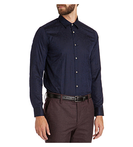 TED BAKER Canmas floral jacquard shirt (Navy