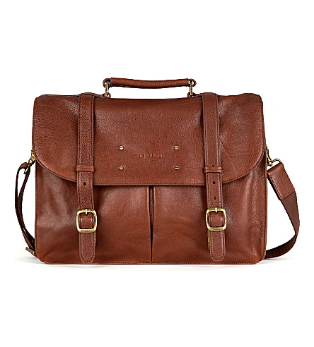 TED BAKER Nubran grained-leather briefcase (Tan