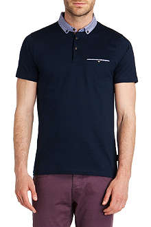 TED BAKER Rokpolo woven check collar polo shirt
