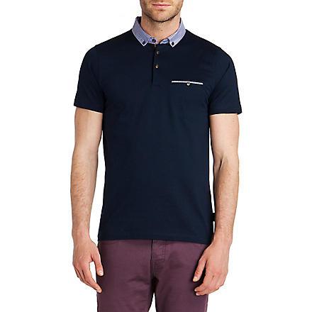 TED BAKER Rokpolo woven check collar polo shirt (Navy