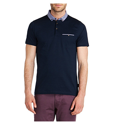TED BAKER Rokpolo woven check collar polo shirt (Navy