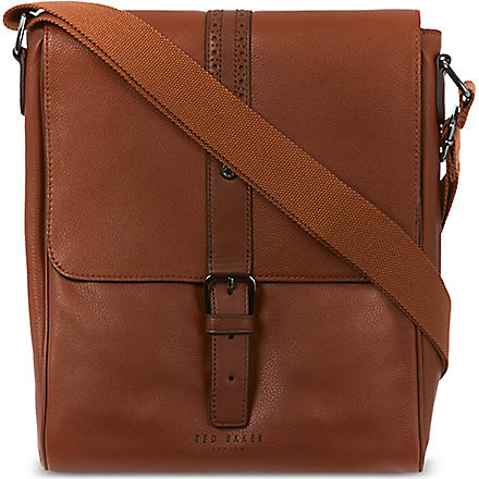 TED BAKER Brogued leather flight bag (Tan