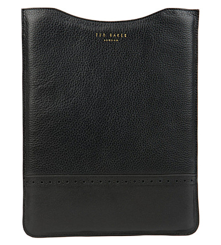 TED BAKER Serated leather tablet sleeve (Black