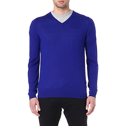 TED BAKER Yohan v-neck cable jumper (Bright+blue