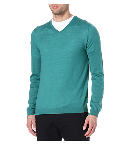 TED BAKER Yohan v-neck cable jumper (Jade