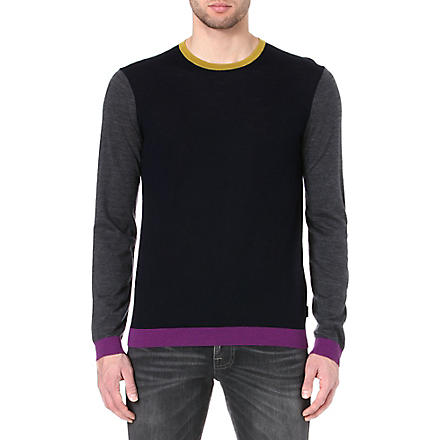 TED BAKER Baesba colour-blocked wool jumper (Navy