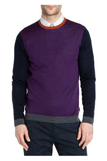 TED BAKER Baesba colour-blocked wool jumper